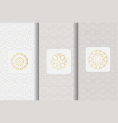 Set of seamless patterns in light grey color with vector