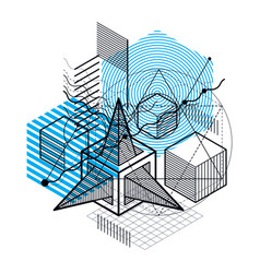 Isometric linear abstract background lined vector