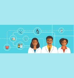 Black doctors team with medical icons vector