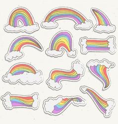Cute rainbow sticker set rainbow cartoon vector