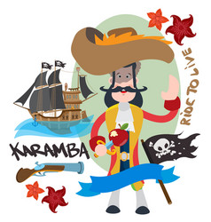 pirate captain cartoon for gaming mobile vector image