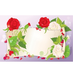 love letter with hearts and flowers - rose daisy vector image