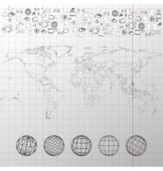 World map with world globes and other elements vector