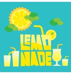 Glass of summer lemonade drink on blue background vector