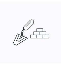 Finishing icon spatula with bricks sign vector