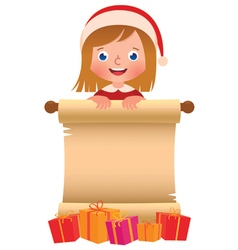 Little girl in santa claus hat with a scroll and b vector