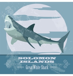 Solomon islands great white shark retro styled vector