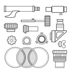 Outline telescope accessories collection vector