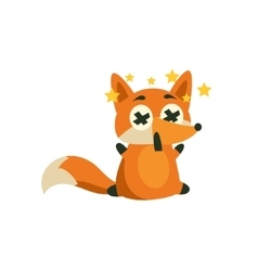 Fox with stars before eyes vector