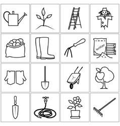Line icons gardening equipment vector