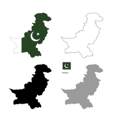 Pakistan country black silhouette and with flag on vector