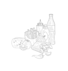 Soda fries and ketchup hand drawn realistic vector
