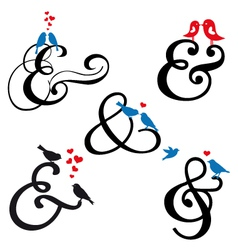 Ampersand sign with birds set vector