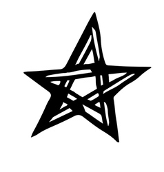 Artistic symbol of a star Black and white star Occ vector image vector image