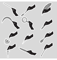 Black silhouette of hands with various tools vector
