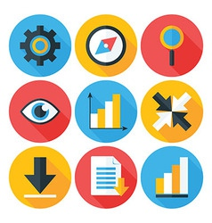 Business flat circle icons set with long shadows vector