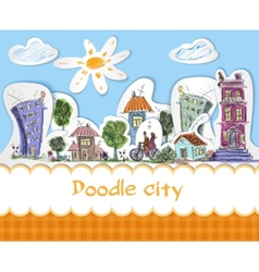 City doodle poster vector