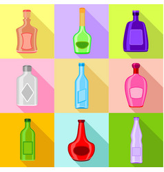 Different bottles icons set flat style vector