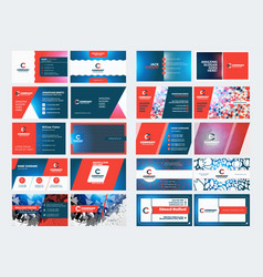 Double sided business card templates stationery vector
