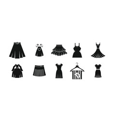 dress skirt icon set simple style vector image
