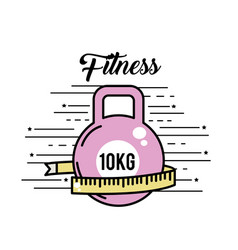 Dumbbell with meter to healthy lifestyle vector