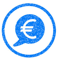 Euro message balloon rounded grainy icon vector