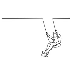 Girl swinging on swing vector