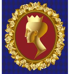 gold profile of queen vector image vector image