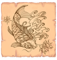 Hand drawn outline koi fish with wave and flover vector