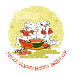 happy birthday card with two cute bears vector image