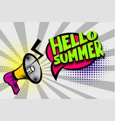 Hello summer comic text pop art colored bubble vector