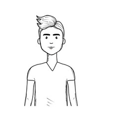 Line cute man with haistyle and t-shirt vector