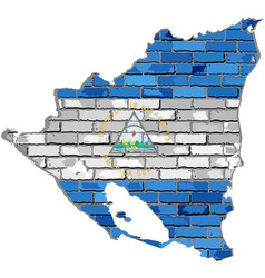 Nicaragua map on a brick wall vector