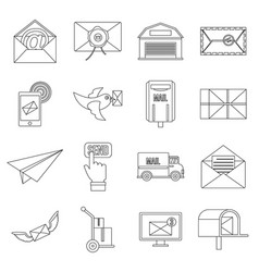 Poste service icons set flat style vector
