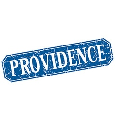 Providence blue square grunge retro style sign vector