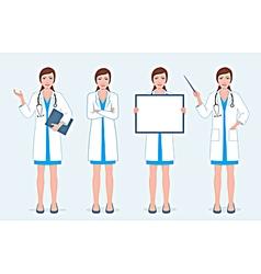 Set of four female doctors vector