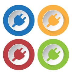 Set of four icons - electrical plug symbol vector