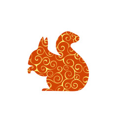 Squirrel rodent mammal color silhouette animal vector