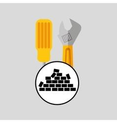 Wall brick tools construction design vector