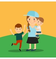 Young girl and two boys vector image vector image