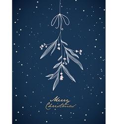 Handwritten Christmas with hanging mistletoe Night vector image