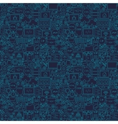 Blue line coding seamless pattern vector