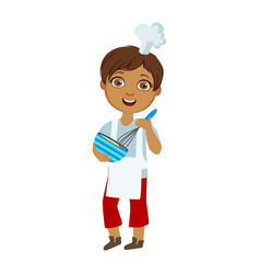 Boy mixing sauce in bowl with whip cute kid in vector