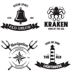 Set of sea and nautical decorations isolated on vector