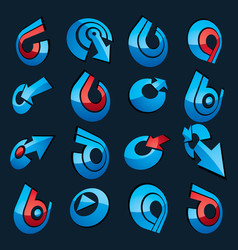 3d abstract icons set simple corporate graphic vector
