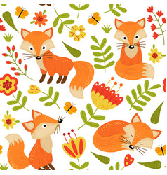 seamless pattern with fox in flowers vector image