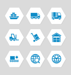 Logistic delivery and transportation icons set vector