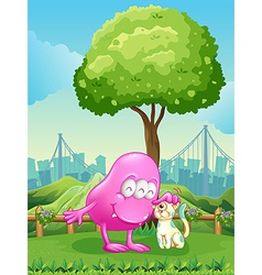 A pink monster and a monster cat near the tree vector image