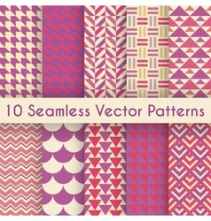 Abstract retro seamless pattern set vector