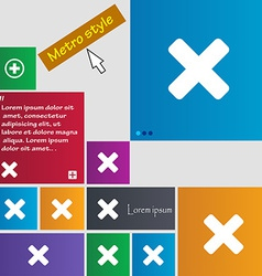 Cancel multiplication icon sign metro style vector